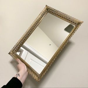 Vintage large gold vanity mirrored tray